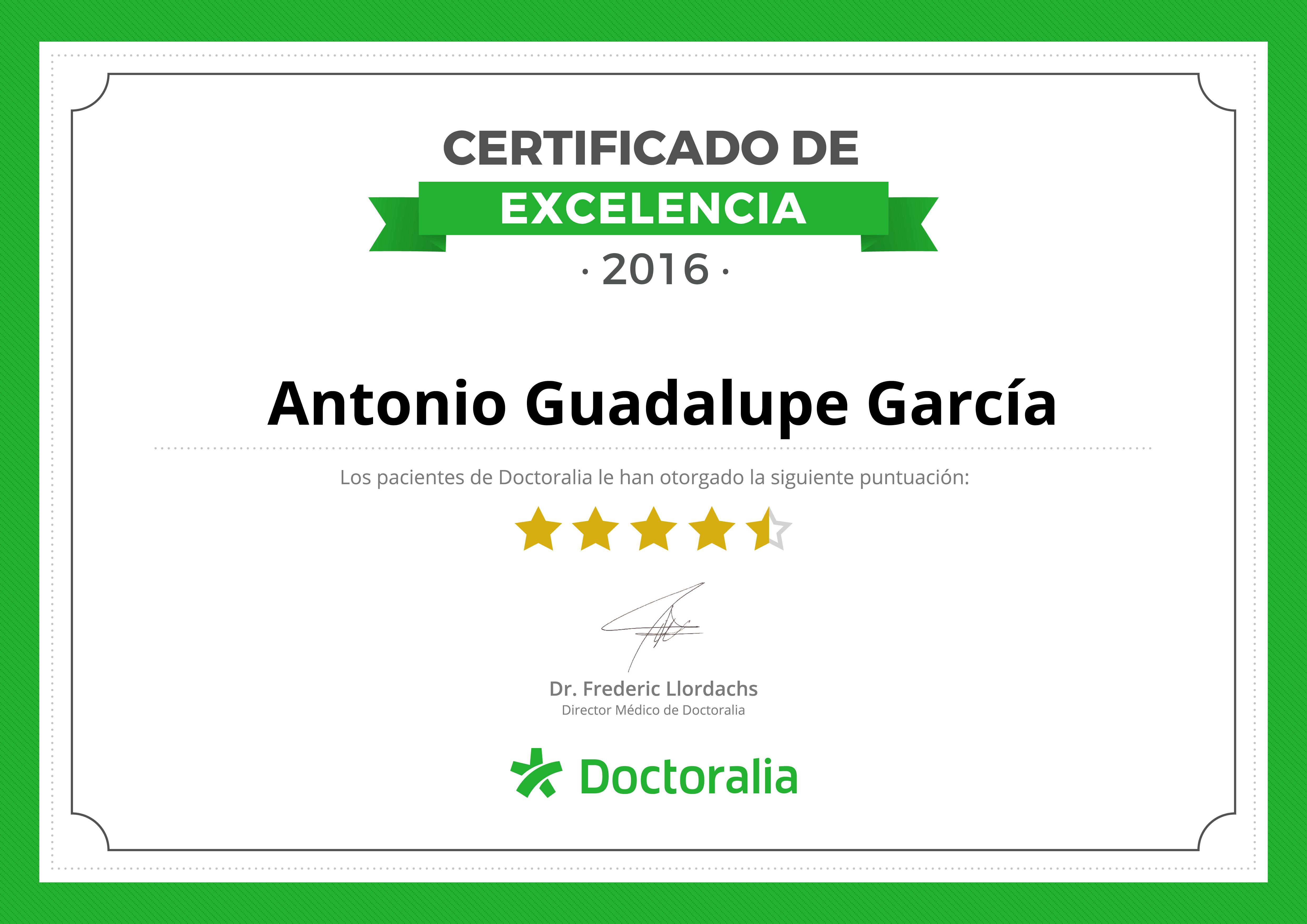 Certificado de Antonio Guadalupe psicólogo en Tenerife